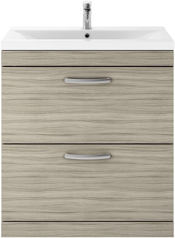 Nuie ATH050A Athena Modern Floor Standing Bathroom Vanity Sink Unit with Soft Close Drawers and Standard Basin Driftwood 800mm