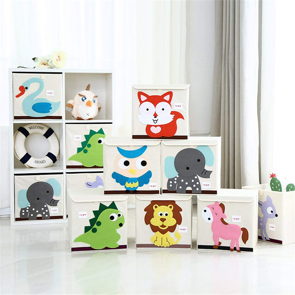 VADOLY 3D Embroider Cartoon Animal Foldable Kid Toy Organizer Clothes Storage Bin for Socks Underwear Ties Bra Desktop Box by VADOLY (Image #2)