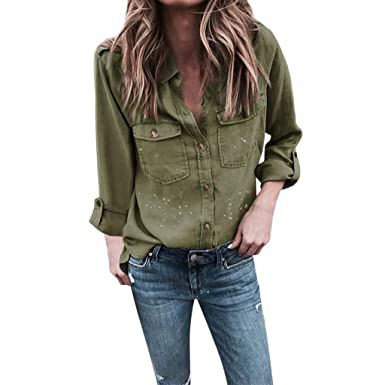 ac5c53a0814 Fashion Women Roll Up Long Sleeve Solid Shirt Tops with Pockets Buttons  Turndown Collar Dot Printed
