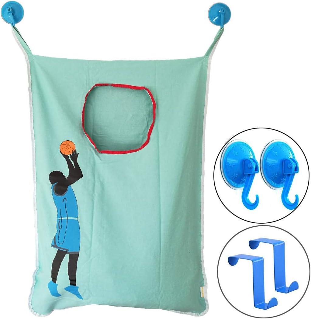 HAMRAY Space Saving Door Hanging Laundry Hamper Bag Over Door in Basketball Hoop with Free Door Hooks Fit for Bathroom Bedroom Closet Toilet Hotel Travel - 5 Piece Pack (Blue)