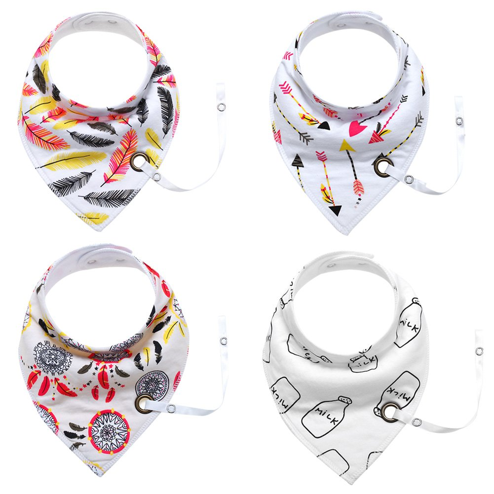 Baby Bandana Bibs Unisex for Teething Drooling Infant Nursing Cloth Burping Bibs Mataching Adjustable Tether for 0-36 months Babies Happy Cherry