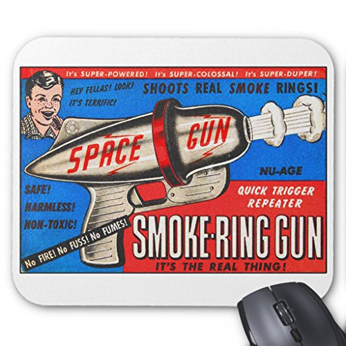 Price comparison product image Zazzle Retro Vintage Kitsch Toy Smoke Ring Gun Ad Mouse Pad