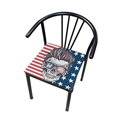 "Bardic HNTGHX Outdoor/Indoor Chair Cushion Vintage US Flag Skull Square Memory Foam Seat Pads Cushion for Patio Dining, 16"" x 16"": Home & Kitchen"