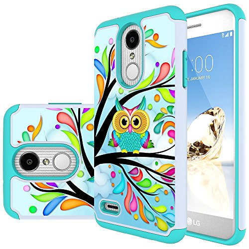 MAIKEZI LG Zone 4 Case,LG Aristo 3/Phoenix 4/Rebel 4/Aristo 2/Aristo 2 Plus/Tribute Dynasty/K8 2018/Fortune 2/Rebel 3/K8 plus/LG Tribute Empire Dual Layer TPU Plastic Phone Case cover(Armor Green Owl)