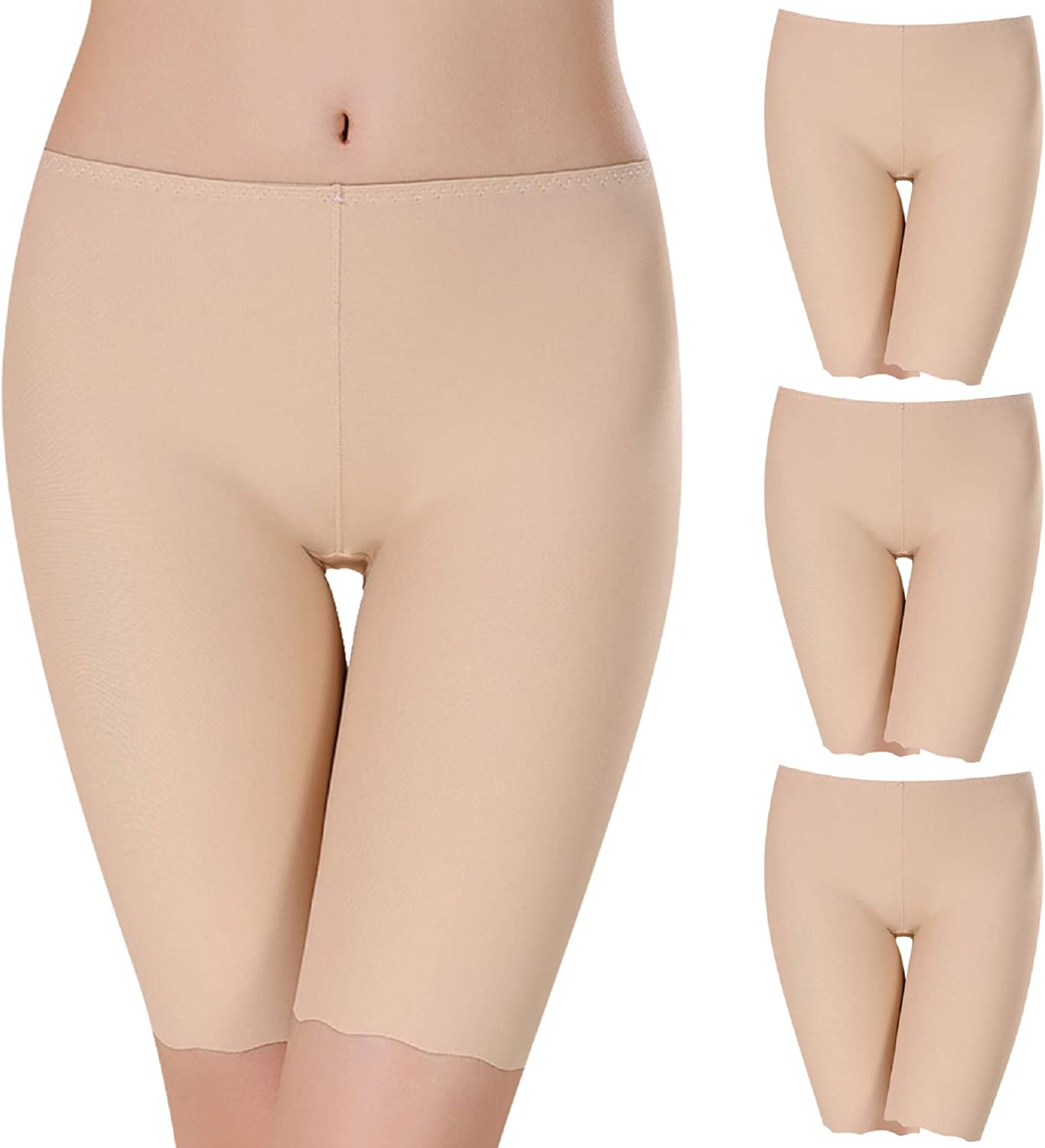 UMIPUBO 3 Pack Shorts Womens Underwear Ice Silk Seamless Slipshort Safety Pants Invisible Mid-Length Leggings Stretchy Under Dresses Boxer Briefs
