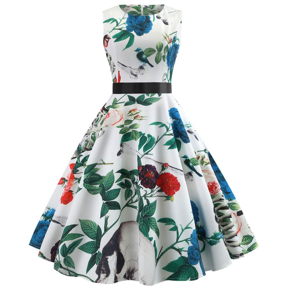 Women Vintage Sleeveless Dress O Neck Evening Printing Party Prom Swing Dress White 2XL