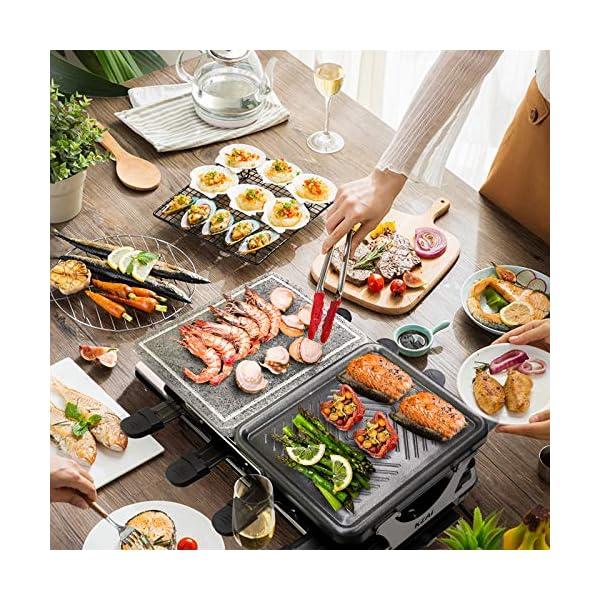 Raclette 8 Persone Griglia Raclette 2 In 1 con Pietra Ollare, Piastra per Raclette con 8 Mini Padelle e 4 Spatole in… 6