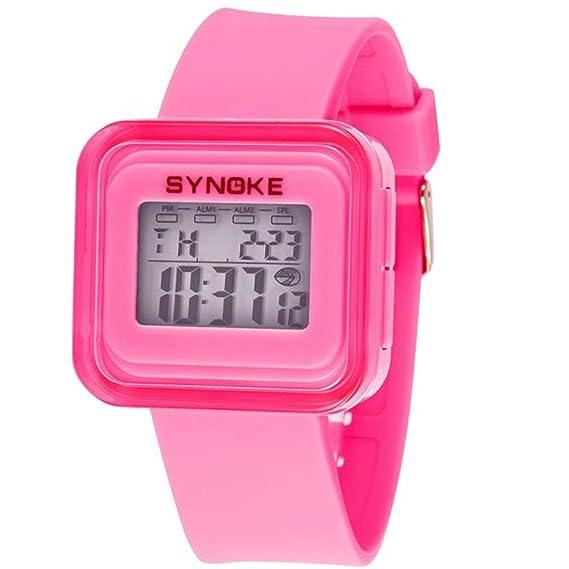SMARTLADY Niño Niña Silicona LED Digital Reloj de pulsera (Rosa)