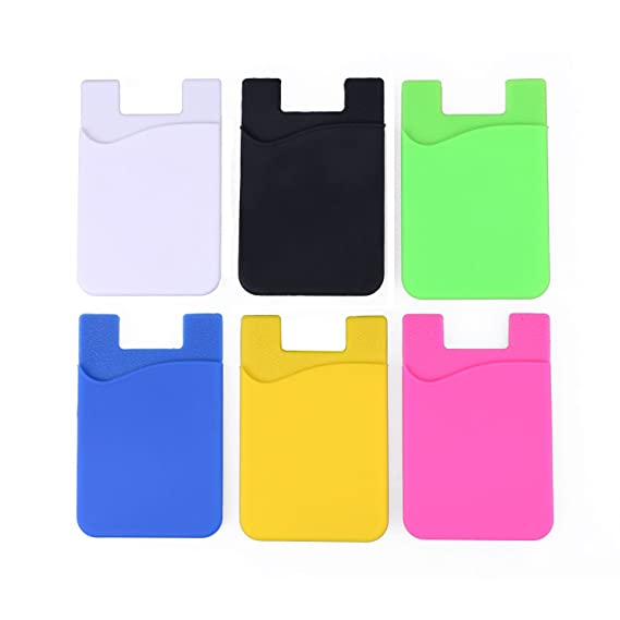 brand new 04744 56796 NALAKUVARA 6-Pack Cell Phone Wallet, Silicone 3M Adhesive Stick-on Wallet  for Credit Card, Ultra-Slim Id Holder Wallet Pouch Sleeve Pocket for ...