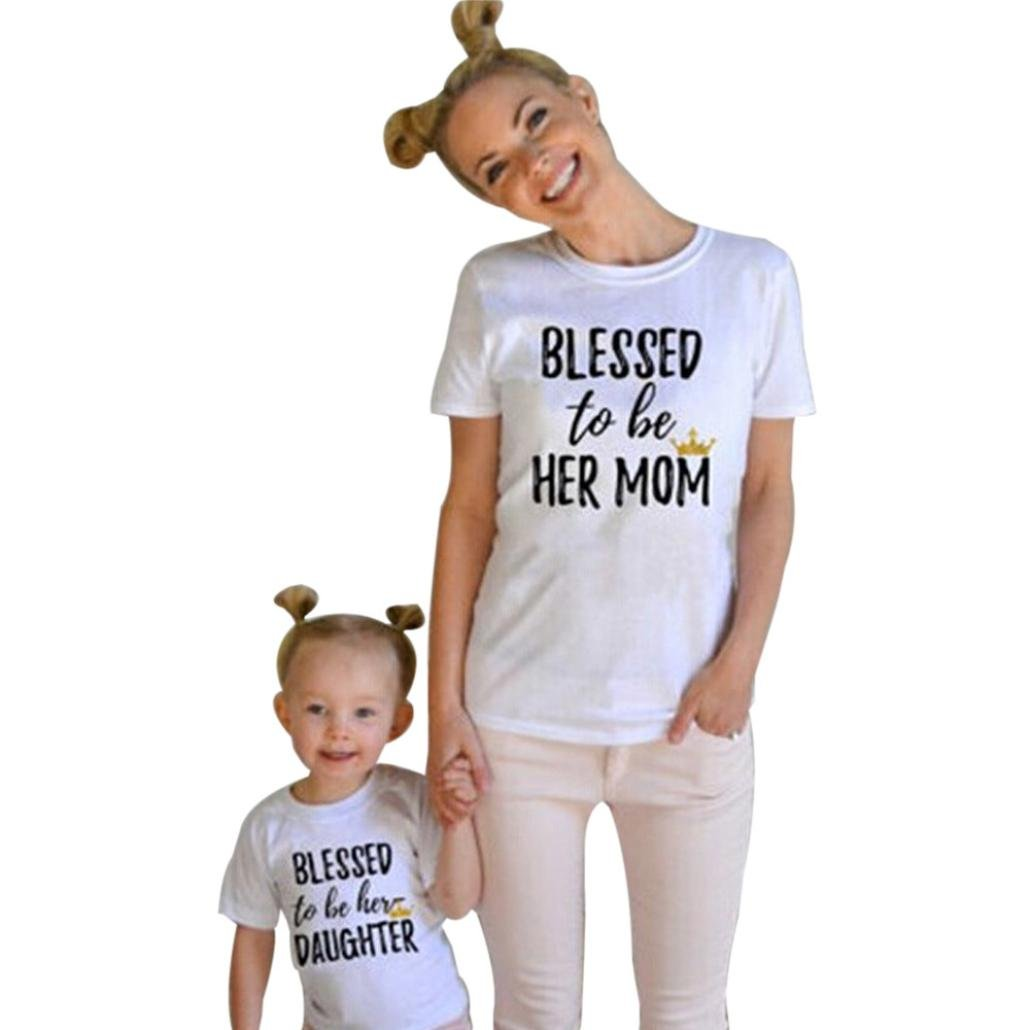 Kolylong Mommy and Me Kids shirt ''Blessed to be her daughter'' Letter Print T shirt family Outfits