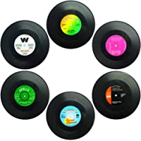 Set Of 6 Coasters, Senhai Retro Vinyl Record Mats Placemats For Cold Hot Drinks, Anti-Skid Tabletop Protection Prevents…