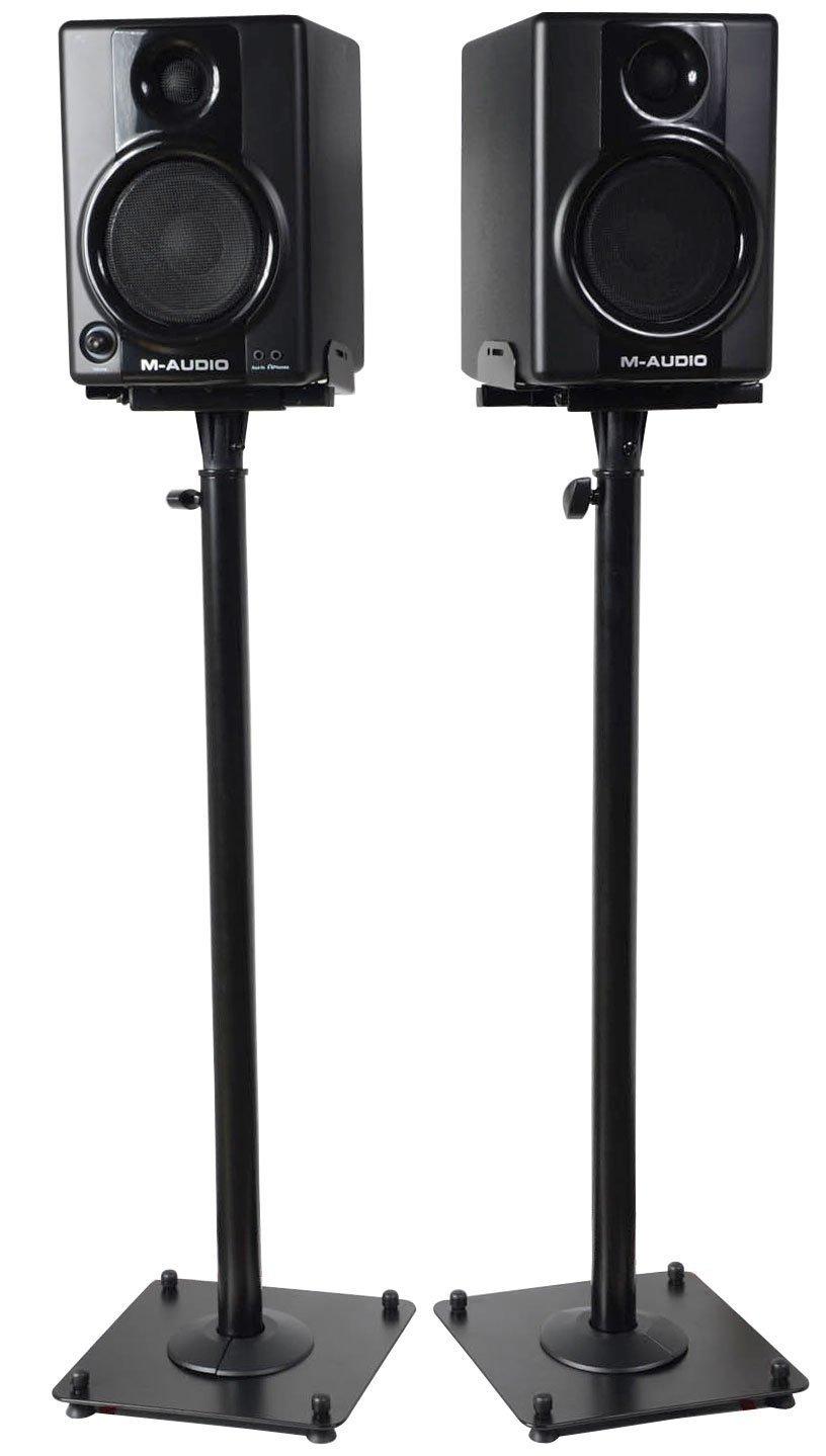 VideoSecu 2 Adjustable Steel Speaker Stands Universal Floor Stands for Front or Rear Surround Sound Speakers W1V by VideoSecu