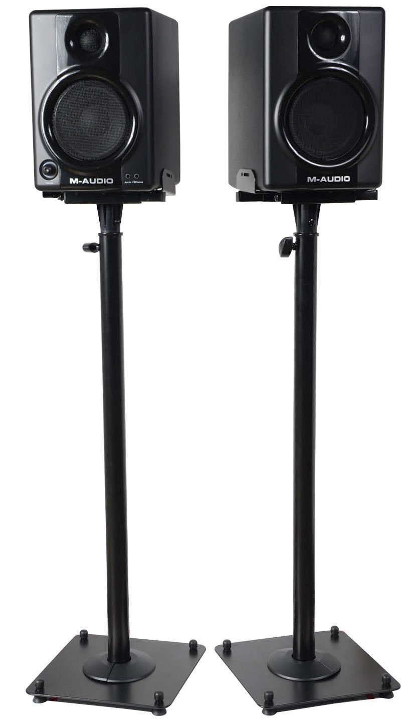 VideoSecu 2 Adjustable Steel Speaker Stands Universal Floor Stands for Front or Rear Surround Sound Speakers W1V