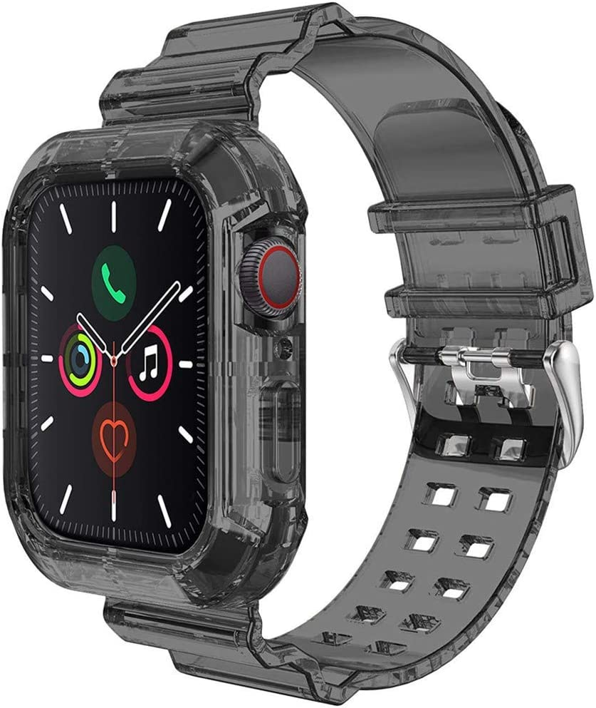 Compatible for Apple Watch Band Strap with Rugged Protective Case 42mm 44mm, Sports Transparent Soft Silicone Bands for iWatch Series 6/5/SE/4/3