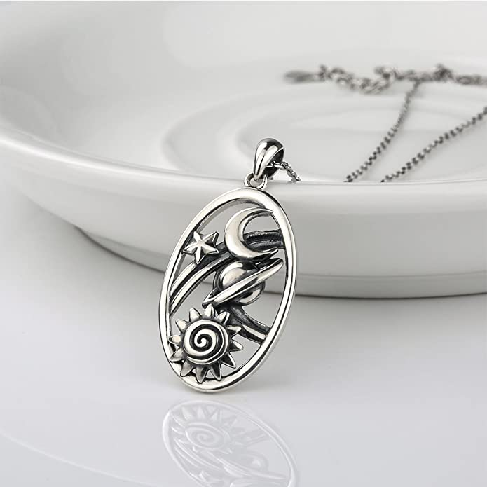 925 Sterling Silver Retro Universe of Sun Charm Star and Luck Moon Oxidation Pendant Necklace Gifts Jewelry Long Chain for women AeFHhN3sU