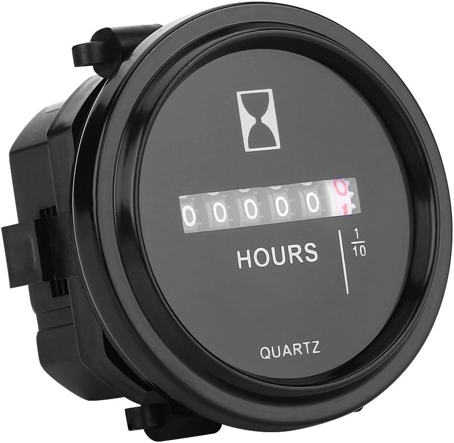 Aramox Round Mechanical Hourmeter Timer Gauge DC 6-80V Mechanical Meter for Car Truck Boat Engine