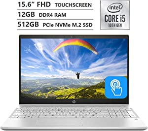 "HP Pavilion Laptop, 15.6"" Full HD IPS Touchscreen, 10th Gen Intel Core i5-1035G1 Processor up to 3.60GHz, 12GB RAM, 512GB PCIe NVMe SSD, Backlit Keyboard, HDMI, Wireless-AC, Bluetooth, Windows 10 Home"