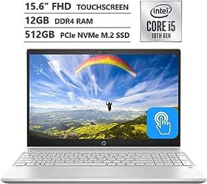 "HP Pavilion Laptop, 15.6"" Full HD IPS Micro-Edge Touchscreen, 10th Gen Intel Core i5-1035G1 Processor up to 3.60GHz, 12GB RAM, 512GB PCIe NVMe SSD, HDMI, Wireless-AC, Bluetooth, Windows 10 Home"