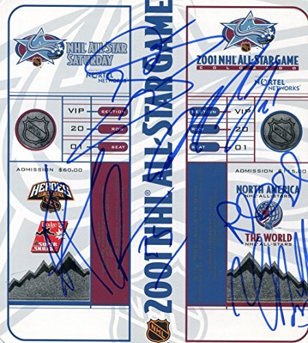 All 1986 Game Star Nhl (COLORADO AVALANCHE signed 2001 NHL All Star Game unused ticket set by Sakic, Roy, Forsberg, Blake, Hejduk / UACC Registered Dealer # 212)