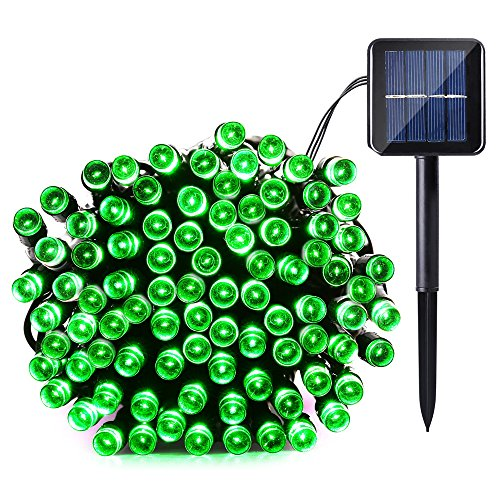 Qedertek Solar String Light, 33ft 100 LED 8 Modes Light Sensor Control Waterproof Decorative Ambiance Light For Patio, Lawn, Garden, Fence, Balcony, Party, Holiday, Christmas Decorations(Green) Green Icicle Lights