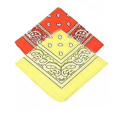 Orange and yellow bandanna scarf//Hankerchief//Head tie//Neck Tie//Neckerchief 100/% Cotton Pack of 2 Set of 2 Paisley Bandanas High quality For Men Women /& Kids