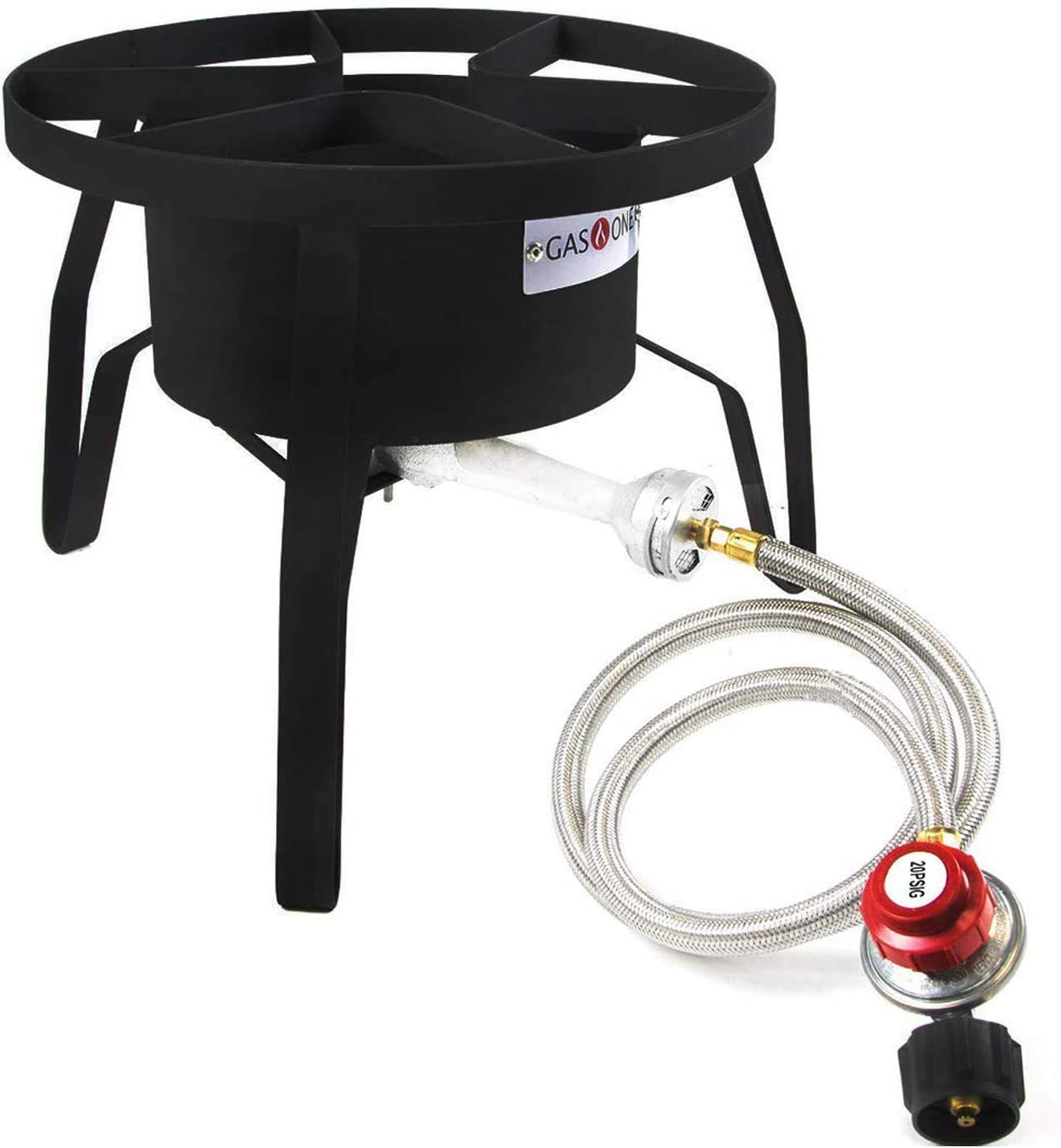 GasOne B-5300 One High-Pressure Outdoor Propane Burner Gas Cooker Weld, Black