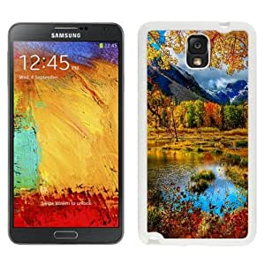 NEW Unique Custom Designed Samsung Galaxy Note 3 N900A N900V N900P N900T Phone Case With Small Mountain Lake Autumn_White Phone Case