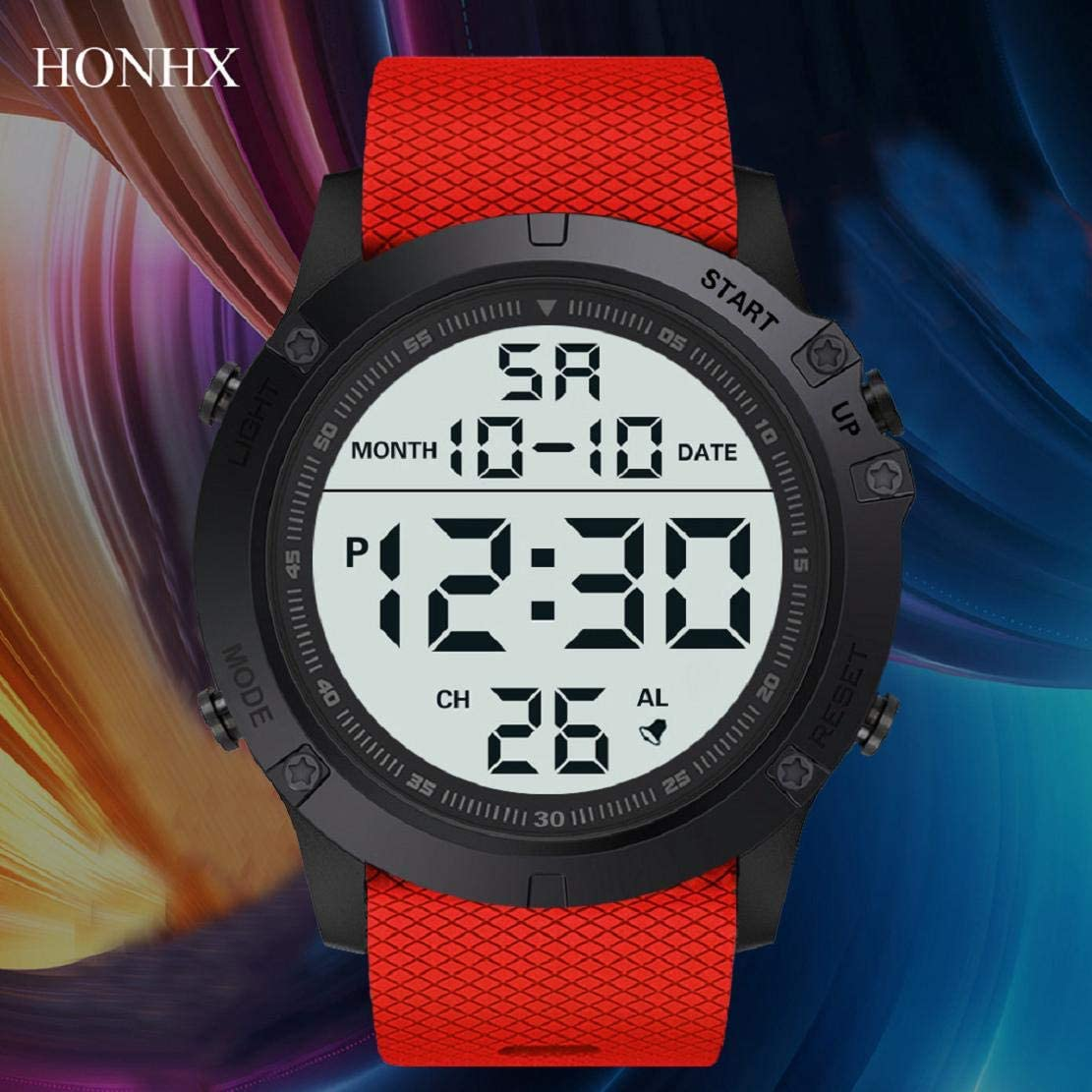 Vacally Fashion Mens Military Users Out of Sports Watches Luxury Led Digital Hd Display Waterproof Wear-Resistant Clothing Wild Watches