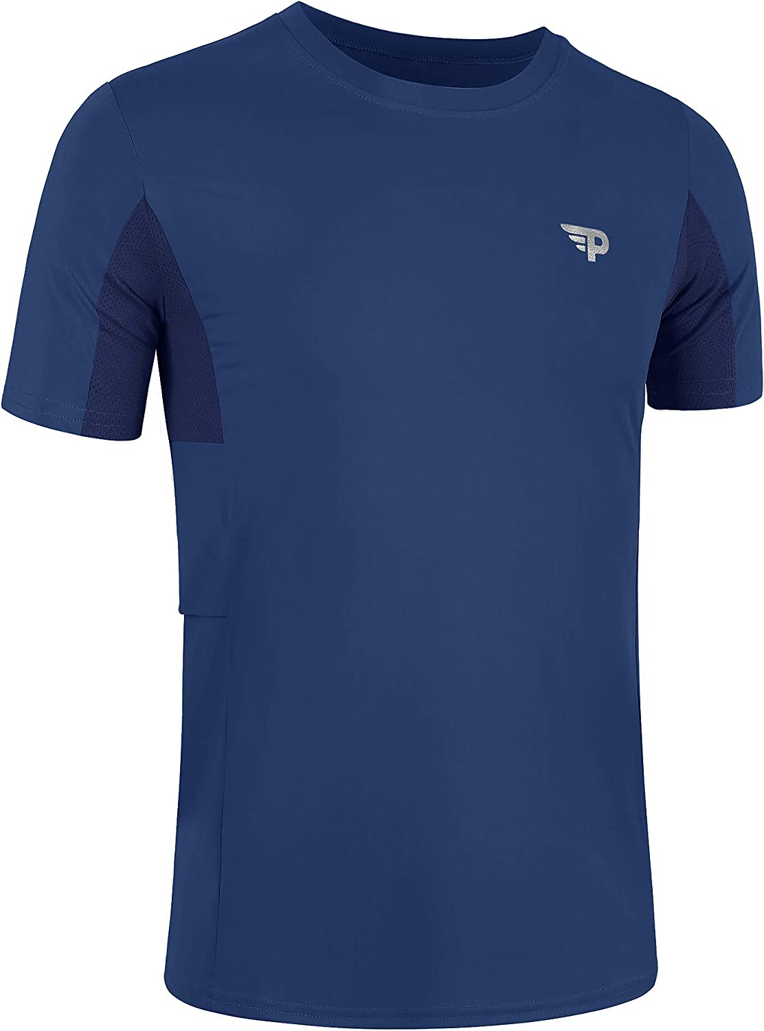 poriff Men's Summer Quick-Dry Sun Protection Short Sleeve T Shirts Portable Athletic Tops