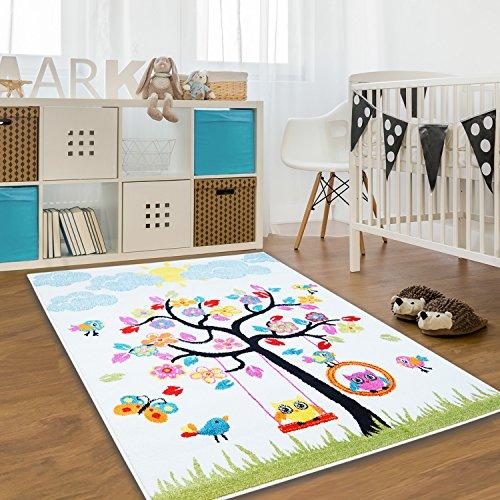 Kinder Teppich Moda Öko Tex Baum creme bunte Farben verschiedene Größen 140x200 cm