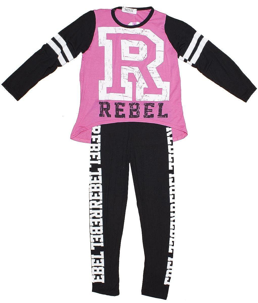 Minx Girls Rebel R Logo Long Sleeve Top & Leggings Dance Set Sizes from 7 to 13 Years