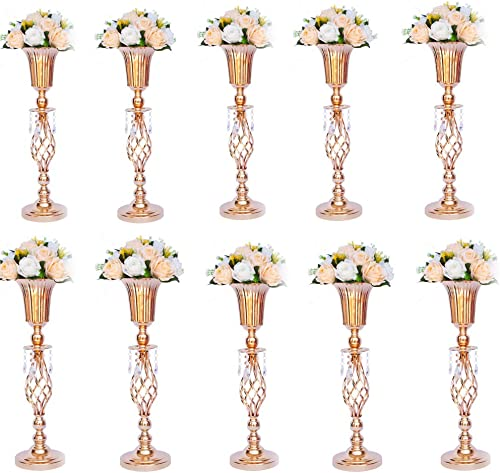 LANLONG Set of 2 Tall Metal Wedding Centerpieces for Reception Tables, Gold Flower Vase Stand, Base Decortion for Party, Events, Birthday, Celebration Ceremonies Gold, 10pcs 23.2in