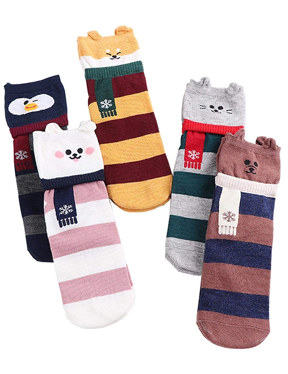 ItsYouForrever Pack of 5 Pairs Womens Cute Cat Socks Casual Cotton Animal Socks