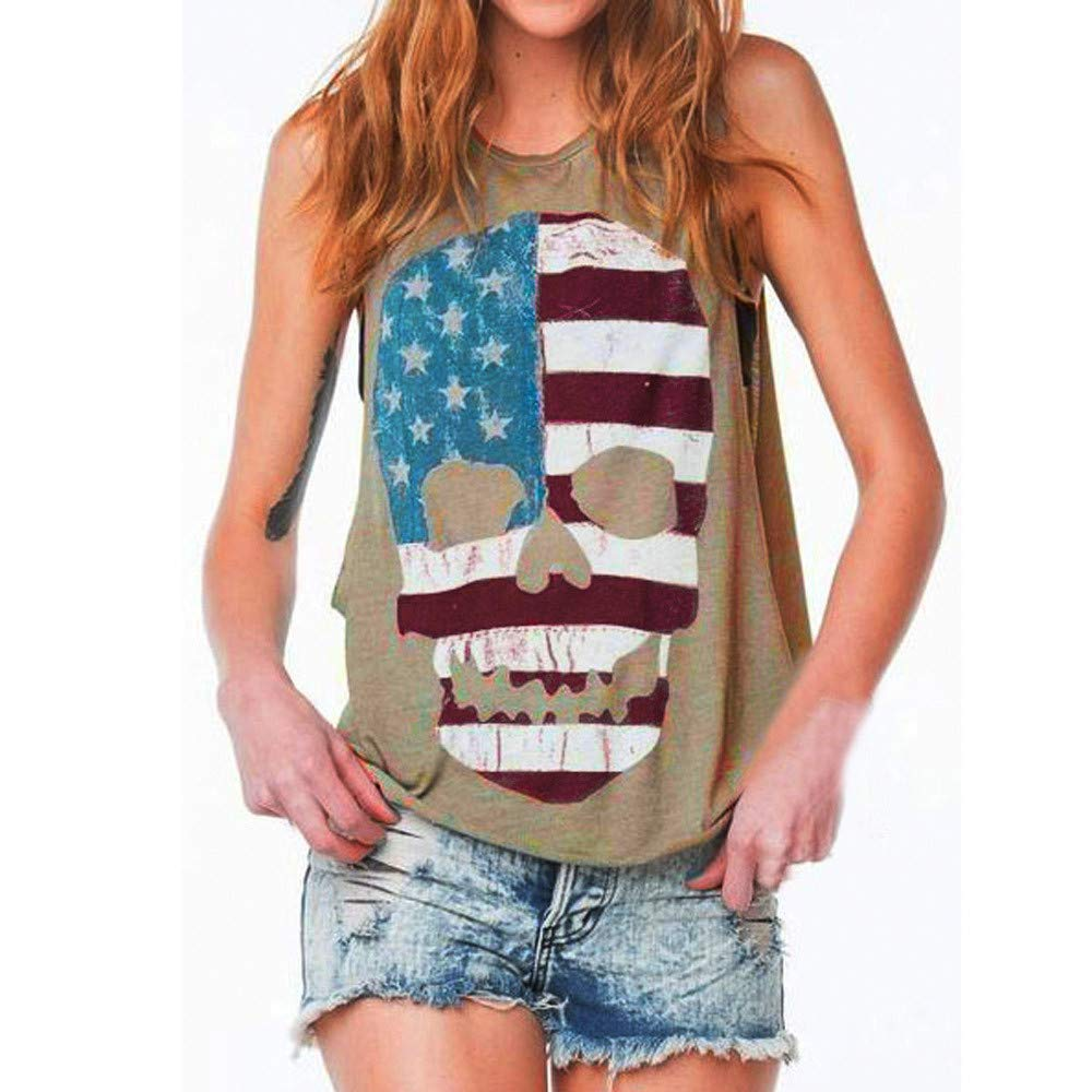 Women Skull Print Sexy Pullover Sweaters for Sleeveless Tank Scoop Neck Crop Top Vest Cami Blouse T Shirt Gray
