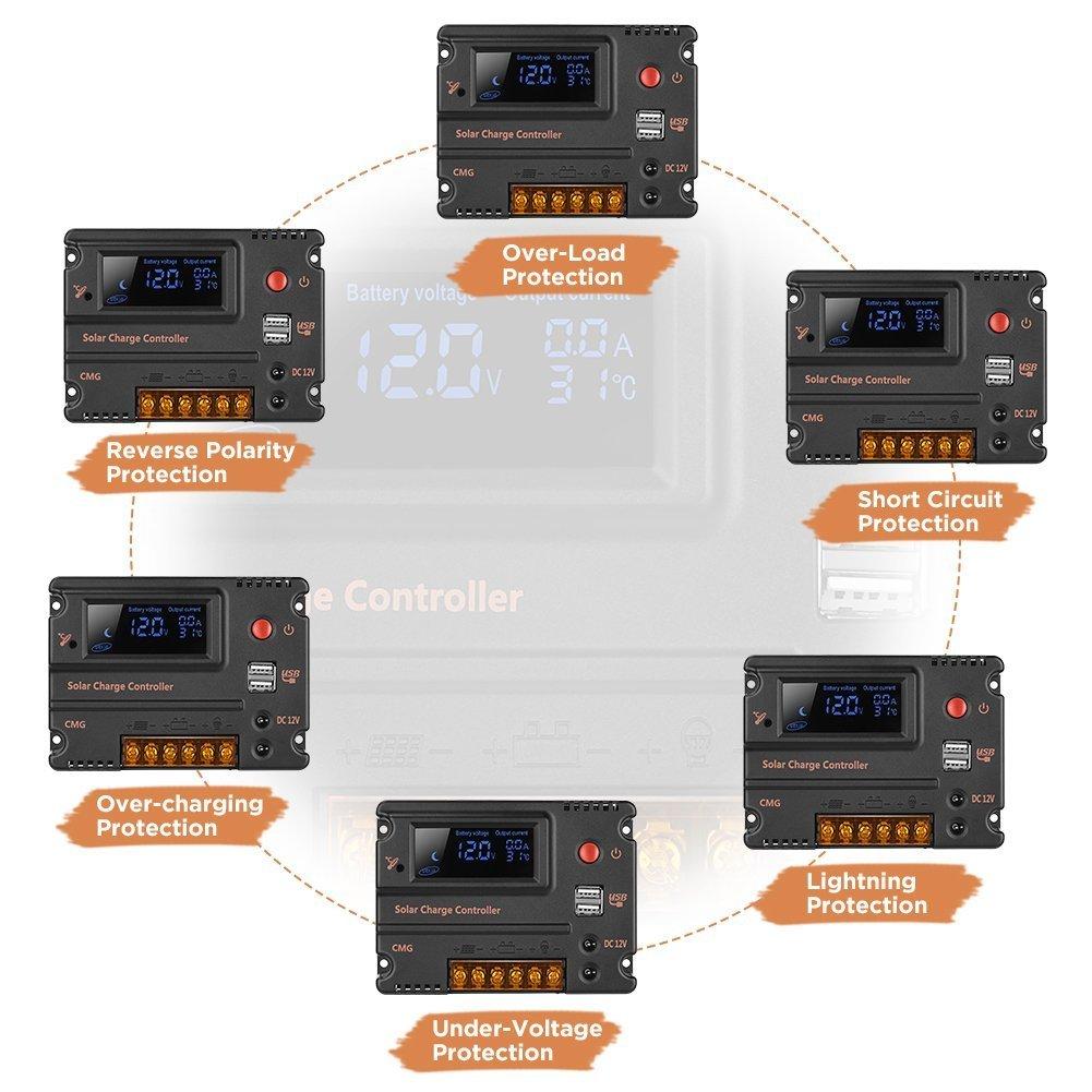 10A 20A 12V 24V solar charge controller CMG 10A