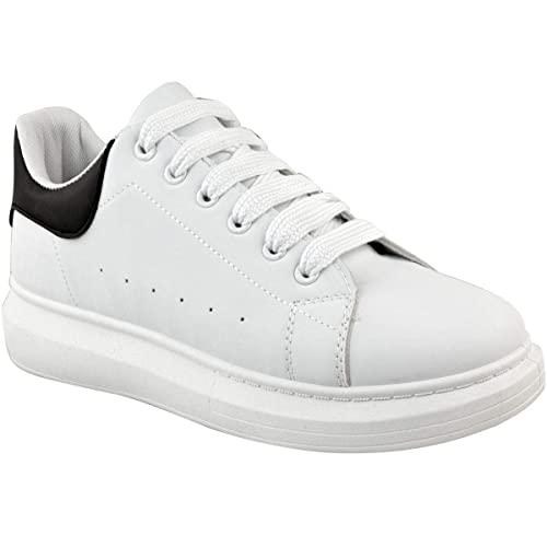 40b55c627bcac Fashion Thirsty Mens Oversized Chunky Sneakers Trainers White Black Casual  Sports Gym Fitness by Heelberry®  Amazon.co.uk  Shoes   Bags