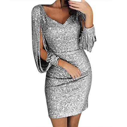 21d83822f7dd Image Unavailable. Image not available for. Color: Women's Sexy Tassels  Sheath Sequin Glitter Bodycon Stretchy Mini Party Dress ...