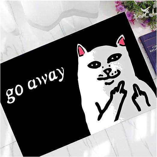 Funny Go Away Cat Durable Floor Mat Doormat Carpet Non-Slip Indoor Outdoor Decor