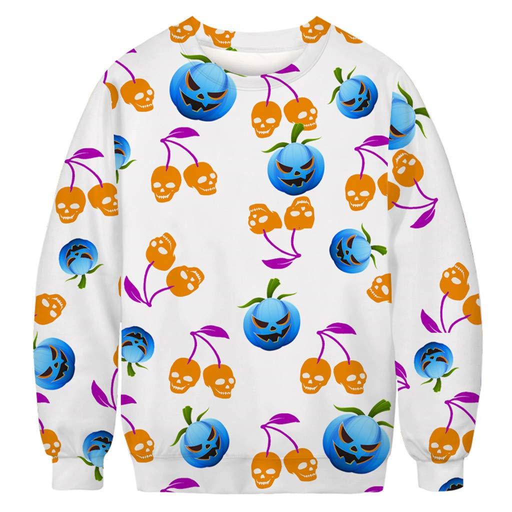 Men Fashion Winter 3D Pumpkin Skull Print Long Sleeve Halloween Warm Sweatshirt Tops Hoodie Sweater Crewneck by QQ1980s