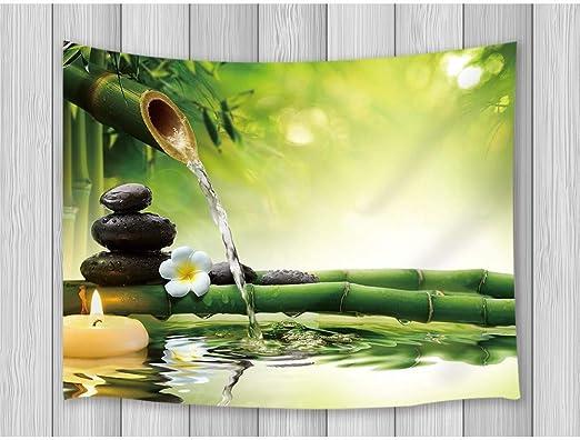 Rjjdd Decoración Asiática Tapiz Piedras Negras Aguas De Bambú Jardines Zen Diseño Japonés Arte De La Pared Colgante Mantas De La Pared del Dormitorio 150X130Cm: Amazon.es: Hogar