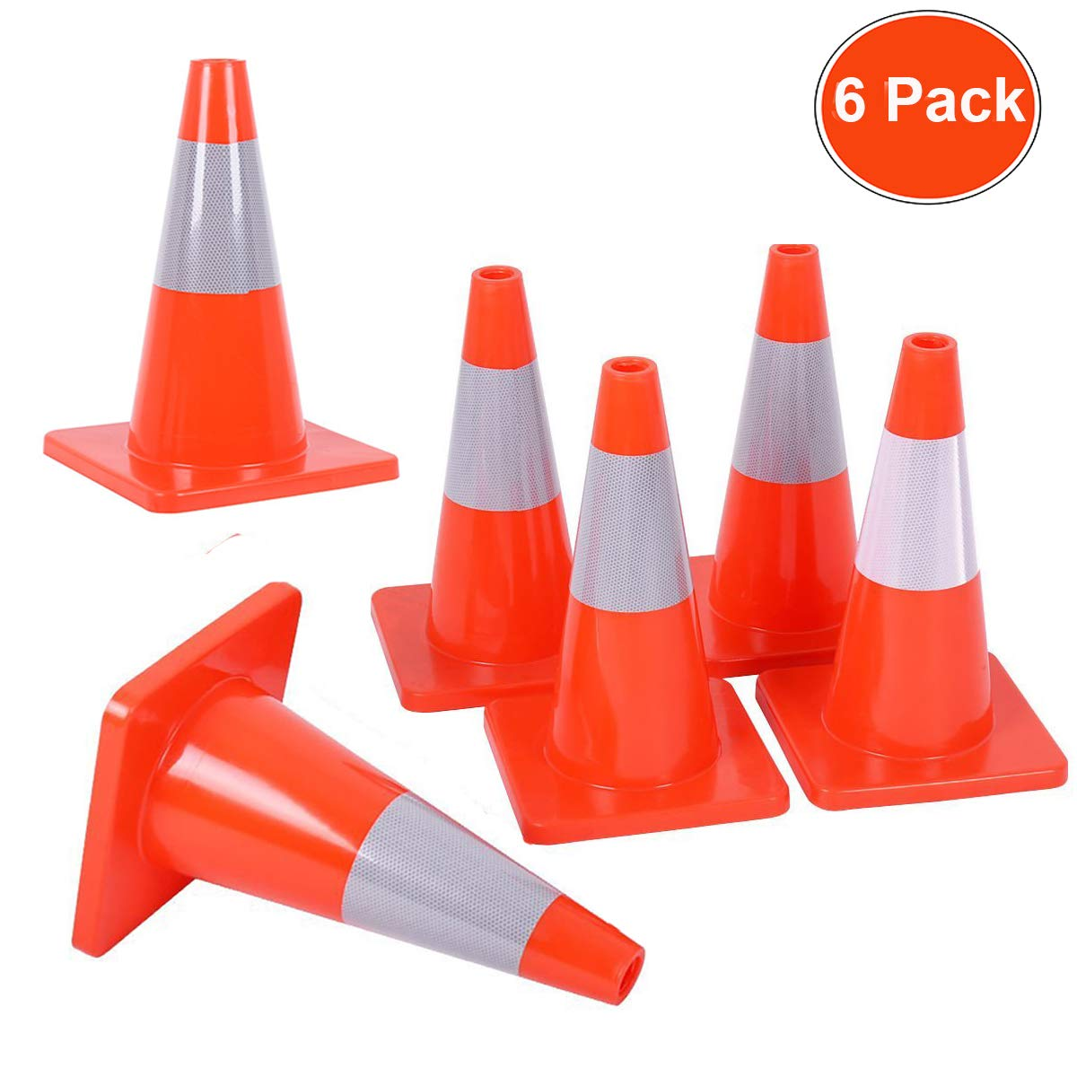 Reliancer 6PCS 18'' Traffic Cones PVC Safety Road Parking Cones Weighted Hazard Cones Construction Cones for Traffic Fluorescent Orange w/4'' Reflective Strips Collar
