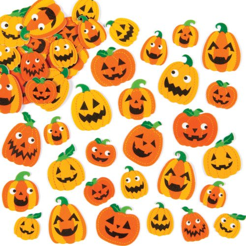 Baker Ross Pumpkin Foam Stickers for Children to Decorate Halloween Crafts Cards and Collage (Pack of 128) ()