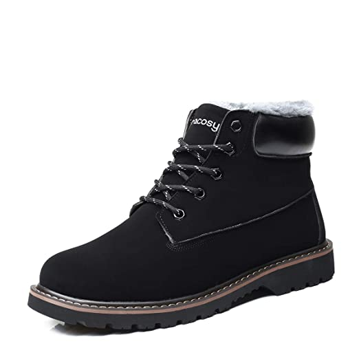 a361ff04e8005 Camfosy Men's Casual Winter Shoes Warm Snow Fur Lining Work Boots  Lightweight Outdoor Non Slip Suede boot