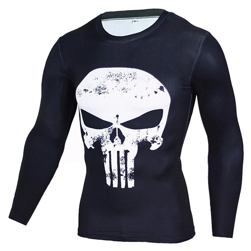 Findci Mens Printed Skull Short Sleeve Long-Sleeve T-Shirt Stretch Skinny Shirt
