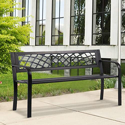 Garden Bench Outdoor Metal Bench Park Bench w/PVC Mesh Pattern Armrests Porch Chair Outdoor Patio Bench Cast Iron Steel Frame Lawn Bench