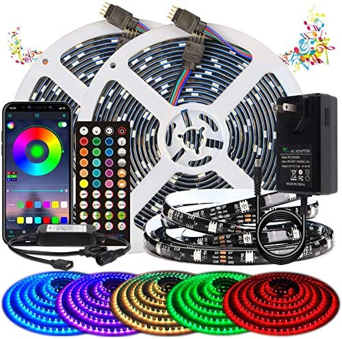 BIHRTC Led Strip Lights 32.8ft RGB Waterproof Led Light Strip 300 LEDs SMD 5050 Music Sync Color Changing with APP Controller and Remote Control Decoration for Bedroom Home TV Party
