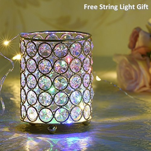 Crystal Wedding Pen (VINCIGANT Silver Cylinder Crystal Tealight Candle / Pen Holders for Valentines Day Home Decorations with LED Starry String Light Included,4.7 Inches Tall)
