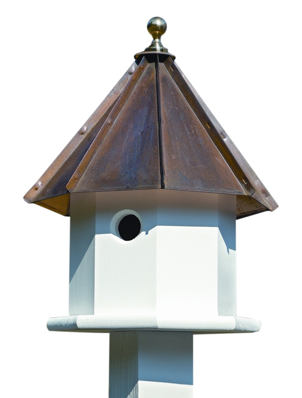 Oct-Avian Bird House w White Brown Copper Roof