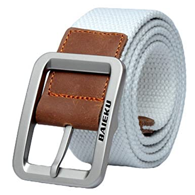 Mens Fashion Casual Canvas Belt Buckle-White