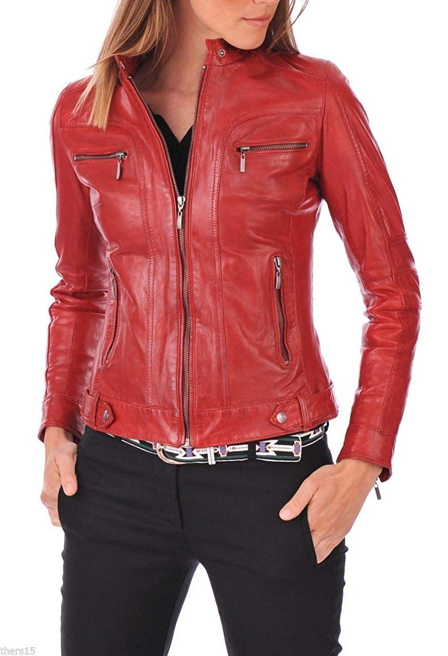 Reds5 DOLBERG CREATIONS Sheepskin Leather Jacket for Womens